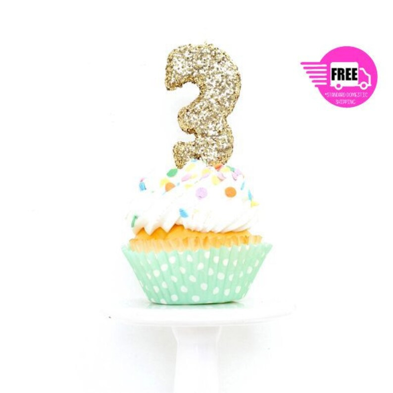 SHIPS FREE 3 Number Candle Gold Three Cake