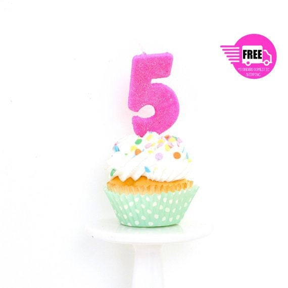 3 Number 5 Candle Giant Hot Pink PartyHot