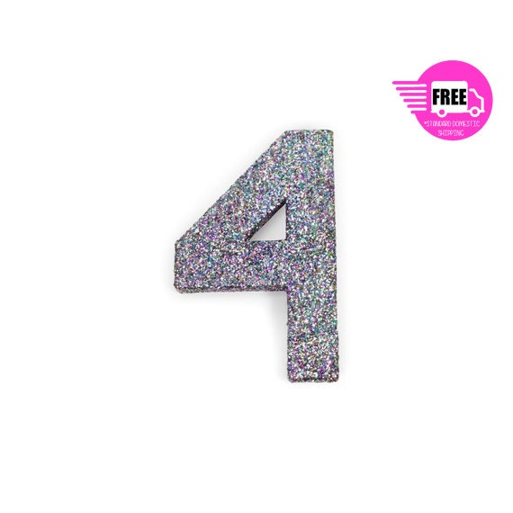 SHIPS FREE Giant Number 4 Mermaid Sparkle 8