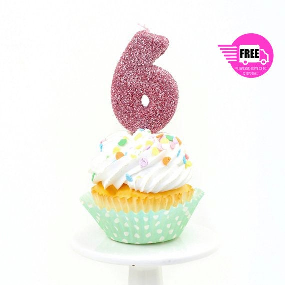 3 Number 6 Candle Giant Blush Pink Birthday Large