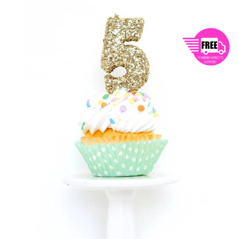 SHIPS FREE 3 Number 5 Candle Gold Five Cake