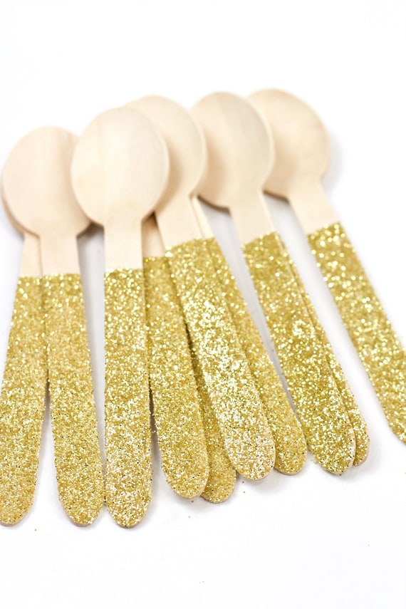 15pc Holographic Glitter Wooden Biodegradable Spoon