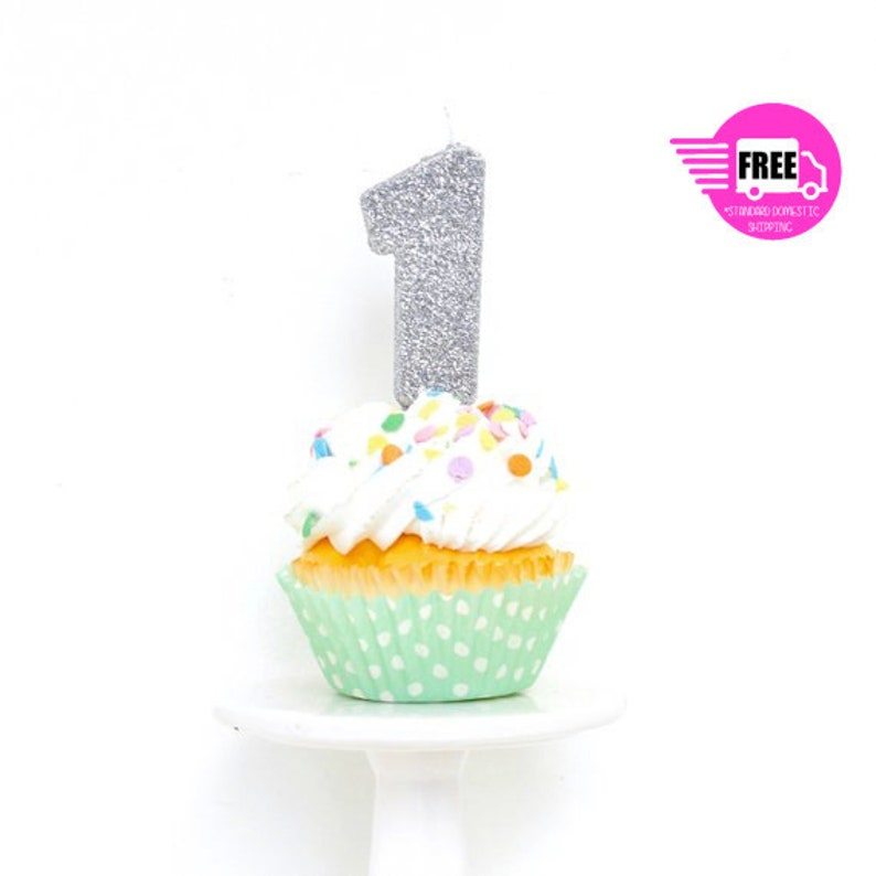 SHIPS FREE 5 Number 1 Candle Silver One Cake