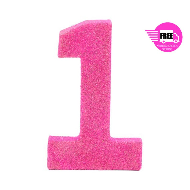SHIPS FREE Giant Number 1 Hot Pink 8 Smash Cake