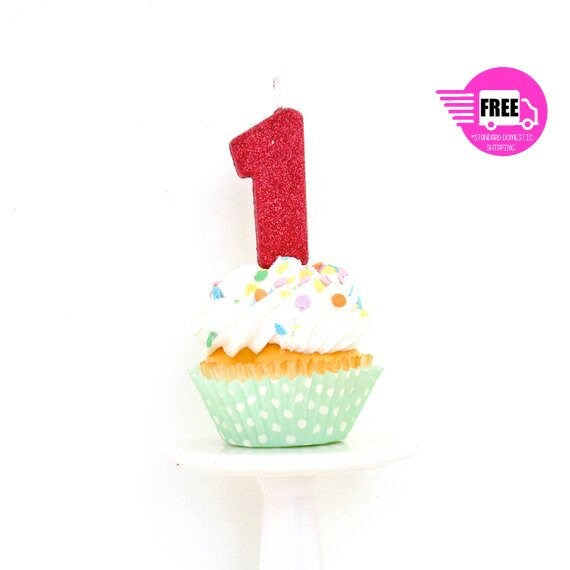 SHIPS FREE 3 Number 1 Candle Red One Cake Topper