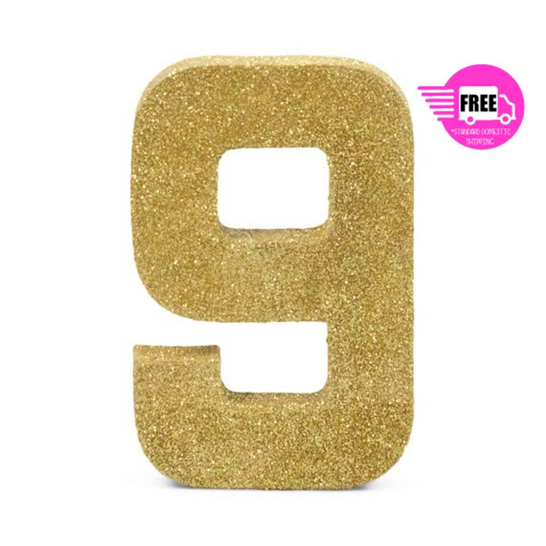 SHIPS FREE Giant Number 9 Gold Fine 8 Smash Cake