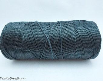 1 spool turquoise turquoise blue waxed polyester cord whole spool of 188yards Linhasita Linhasita TURQUOISE BLUE no229