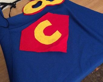 Jersey knit superhero cape with matching felt mask