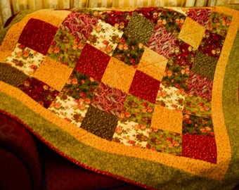 Autumn colours flannel quilt - throw