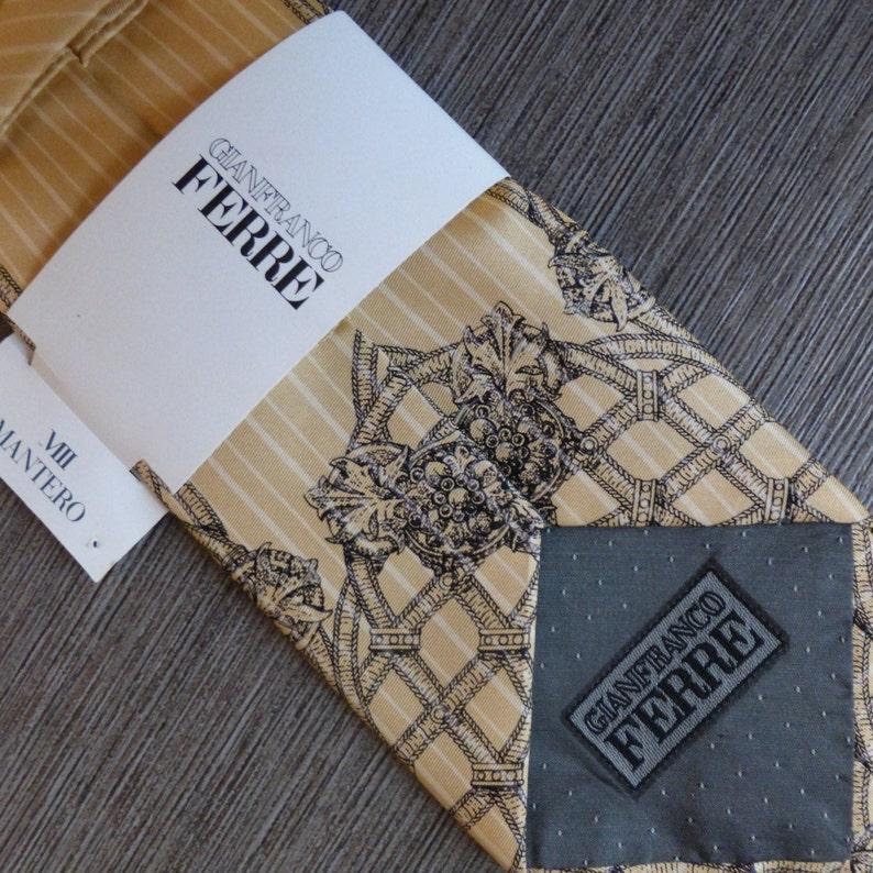 Gianfranco Ferre  \u201cdead stock\u201d  champagne /& black  silk  vintage  necktie