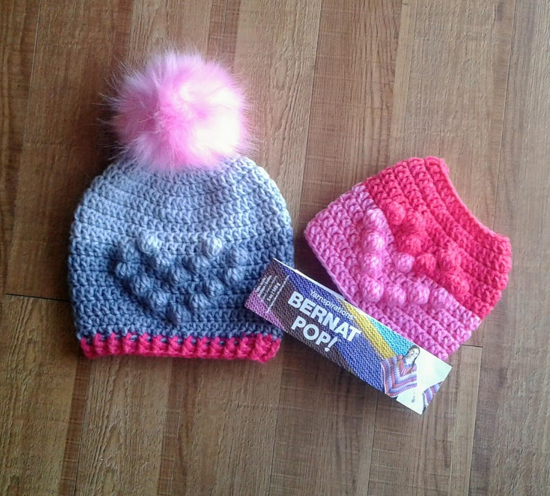 The Sweetheart Trio crochet PDF patterns NOT finished items! Slouch Hat with matching Cowl Plus BONUS Messy Bun Hat
