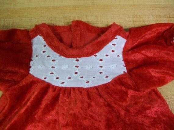 """WHITE CHRISTMAS BLOUSE RED PANNE VELVET SKIRT for 16/"""" CPK Cabbage Patch Kids"""