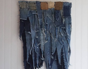 "Denim Wall Hanging 16""x36"" handsewn from recycled men's work jeans"
