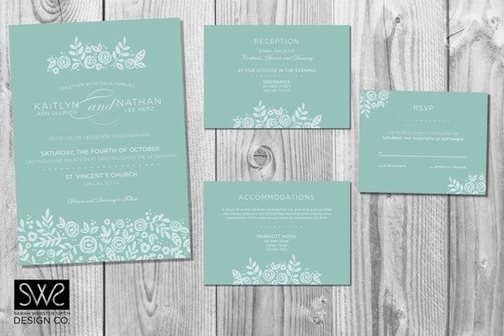 Modern Floral Wedding Invitation Design Suite Customized Etsy