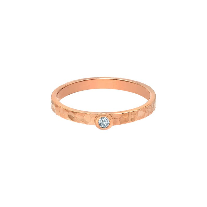 TousiAttar Solitaire Diamond Band Solid 14k Rose Gold hammered Rings Jewelry for Women Free Engraving Name and Initial