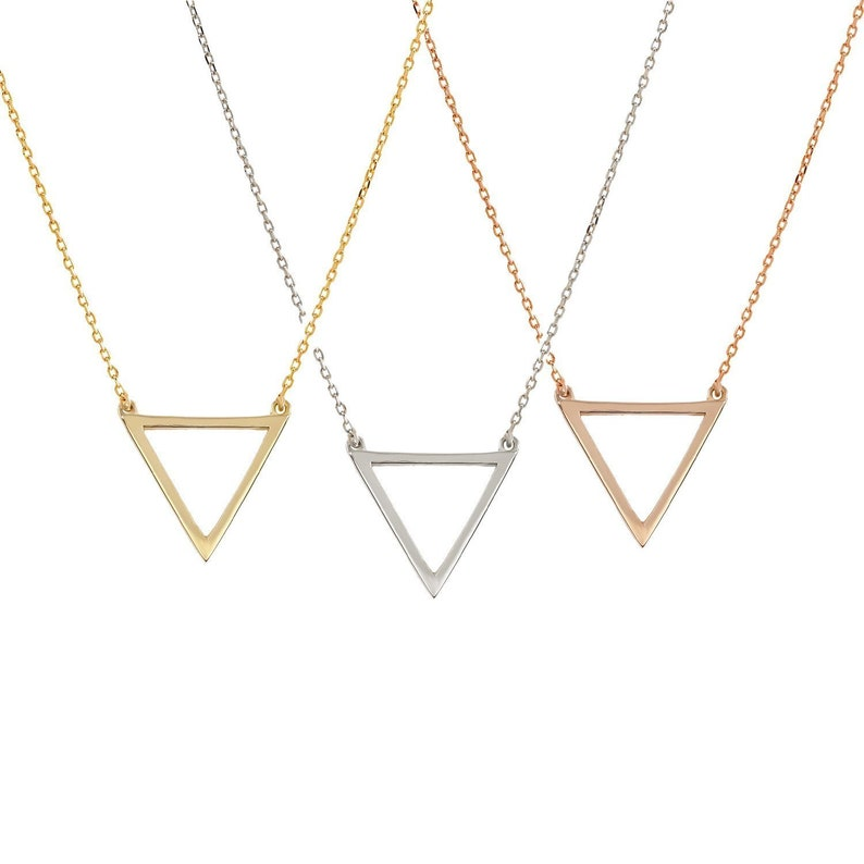 TousiAttar Triangle Necklace 14k Solid Yellow White Rose Gold  Triangle Pendant Necklaces Jewelry Gift for Women and Girls