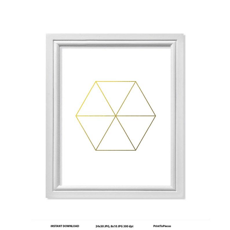 6656efb8920d1 Hexagon Triangle Print Modern Wall Art Simple Print Hexagon | Etsy