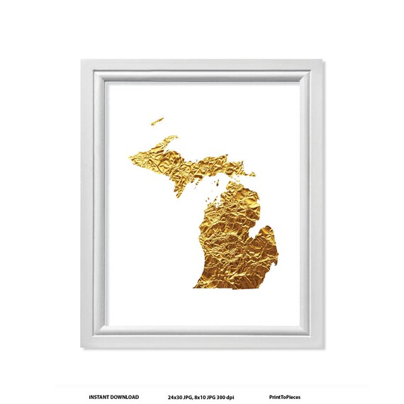 Gold In Michigan Map.Gold Michigan State Map Of Michigan Map Of State Of Etsy
