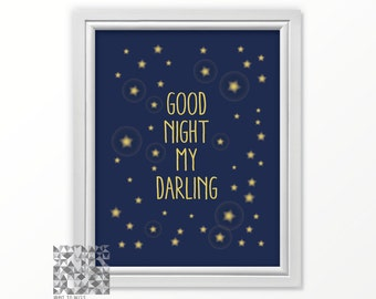 Good Night print nursery art digital print nursery print good night my darling wall art nursery decor nursery love print love art blue print