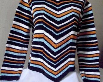 Original striped sweater black white orange and blue, long sleeves