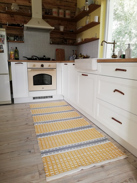 Yellow and Gray Striped Kitchen Cotton Rug / Scandinavian | Etsy