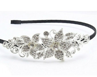 Fashion Silver Flower Headband Women Rhinestone Hair Band Party Queen Jewelry Crystal Rubber Band Accessories