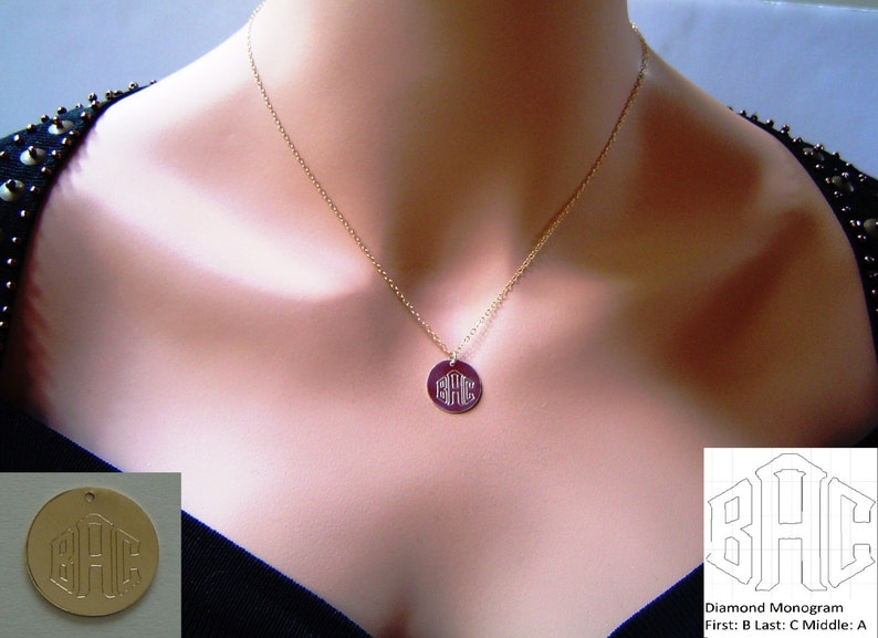 14k Gold Fill Gold Disc Necklace,Large Disc Necklace,Monogram Necklace,Circle Initial Necklace Sterling Silver Name Disc Necklace
