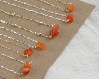 Carnelian Necklace. Raw Carnelian Crystal Necklace. Carnelian Chips Birth Stone Necklace. Waterproof Necklace for Mom. Birthstone Necklace.