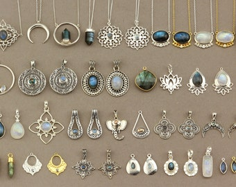 Boho Necklace. Sterling Silver Necklace. Gemstone Pendant. Silver Jewelry. Bohemian Necklace. Crystal Point Stone Pendant. Gold Necklace
