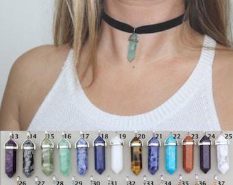 Velvet Choker Necklace. Crystal Choker. Black Choker. Healing Crystal Necklace. 90s Grunge. Quartz Crystal Point Choker. Boho Healing Stone