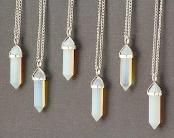 Boho Necklace. Opalite Necklace. Opalite Crystal Necklace. Opalite Crystal Point Pendant. Silver Stone Necklace. Natural Gemstone Necklace.