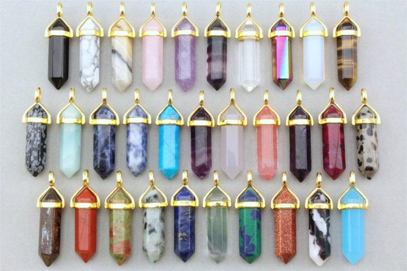 Healing Crystal Pendant. Gold Crystal Pendant. Gemstone image 0