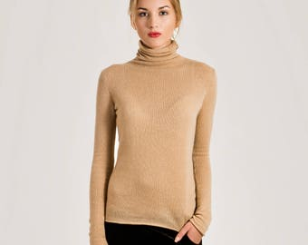 Cashmere jumper, Cashmere sweater woman, Turtleneck sweater, Handmade pullover, Natural wool knit sweater, Winter sweater, Black turtleneck
