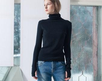 Knit turtleneck sweater, Merino wool women jumper, Fitted black roll neck pullover, Wool high neck sweater, Sustainable womens knitwear