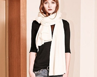 eb6eaeb6c Off-white cashmere scarf | Women's cashmere scarf | Knit cashmere scarf | Long  cashmere scarf | Long cashmere wrap scarf | Travel wrap | KIM