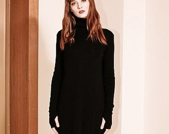 6ecd1c07f6df Black dress  Black knit dress  Minimalist dress  Turtleneck dress  Chic black  dress  Shift dress black  Knee length dress  JANET