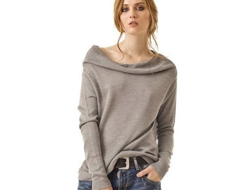 100% cashmere knit womens sweater, Grey 1 ply cashmere handmade cowl neck jumper, Off the shoulder natural wool handmade nordic pullover