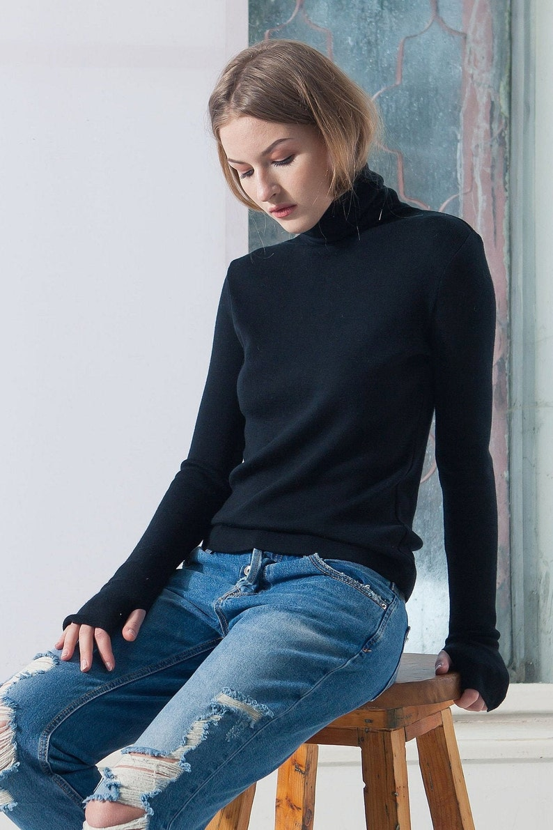 Black turtleneck sweater merino turtleneck black turtleneck uHuaWLAH