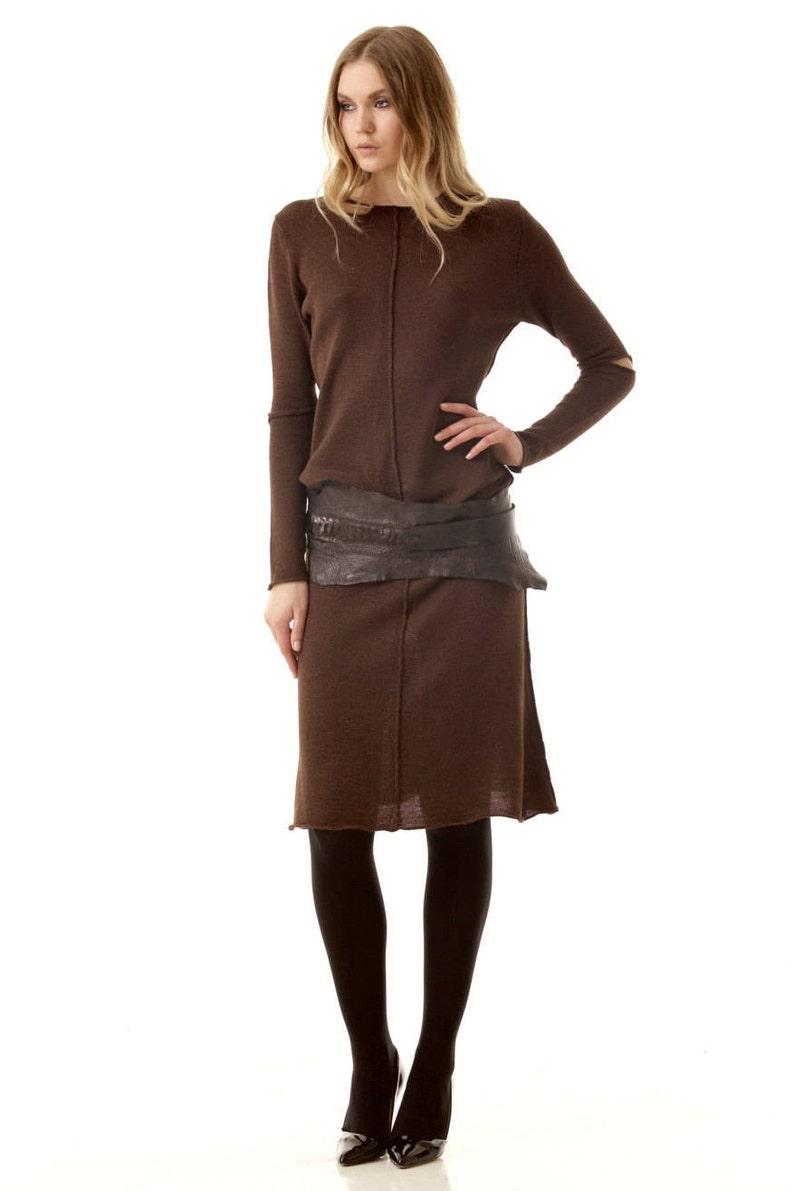 a5e44c491cf3 Brown knee length dress A-line dress Merino wool dress Knit   Etsy