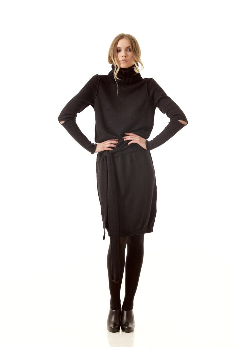 d98663d5f4f0 Black turtleneck dress AMANDINE BLACK knee length 100%   Etsy