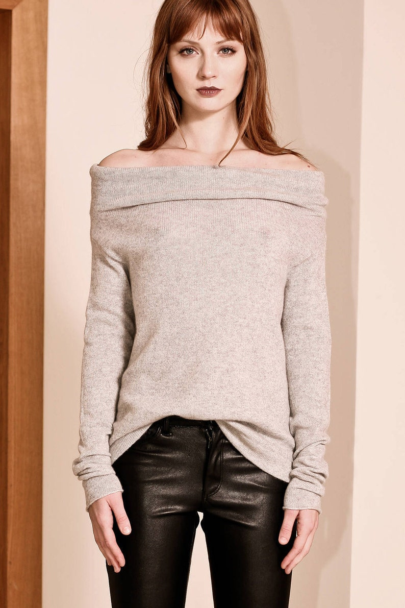 fbe0f33053fa8 ... Grey cashmere sweater Off shoulder sweater Womens sweater image ...
