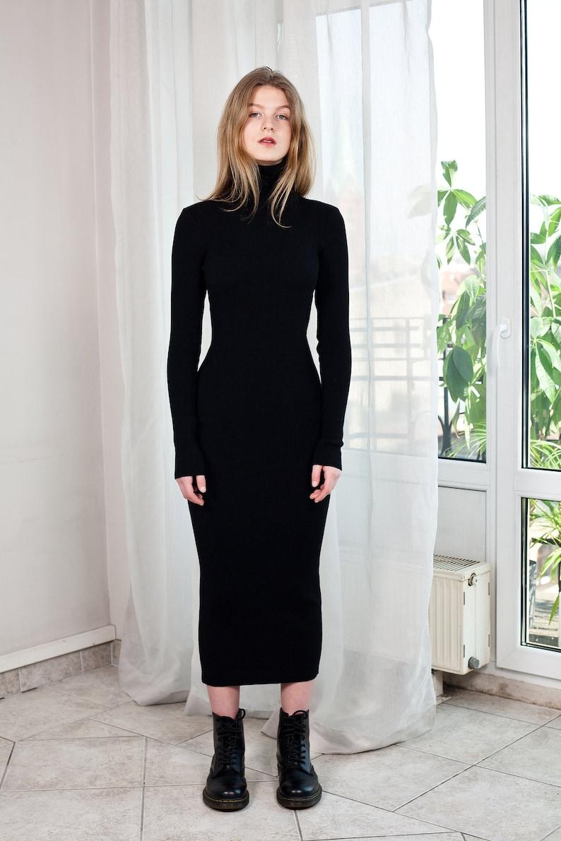 Langes Schwarzes Wollkleid Geripptes Merino Kleid Etsy