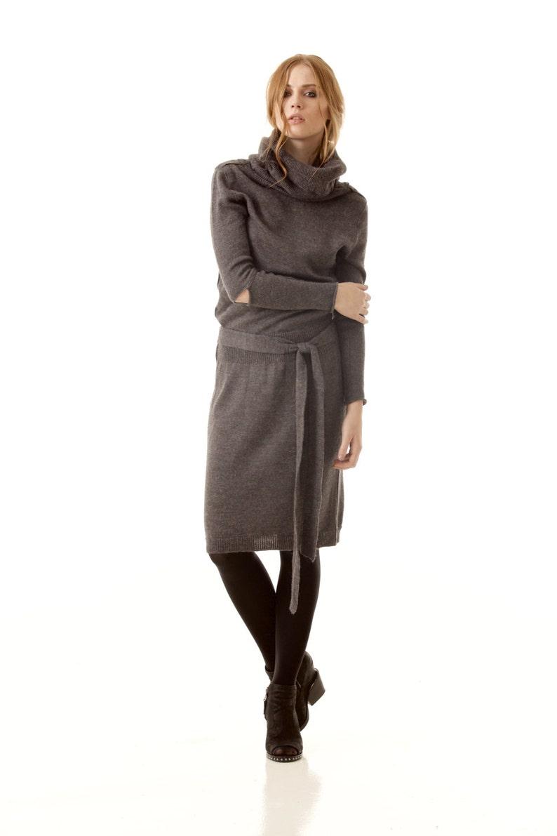 3a2fc1cb7b94 Grey turtleneck dress 100% alpaca wool dress knee length   Etsy