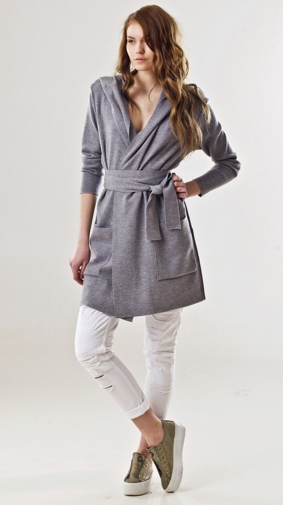 Open merino G cardigan hood white hooded Grey Wrap off cardigan cardigan sweater grey EMILIE Large wrap wool womens front black aSa0H