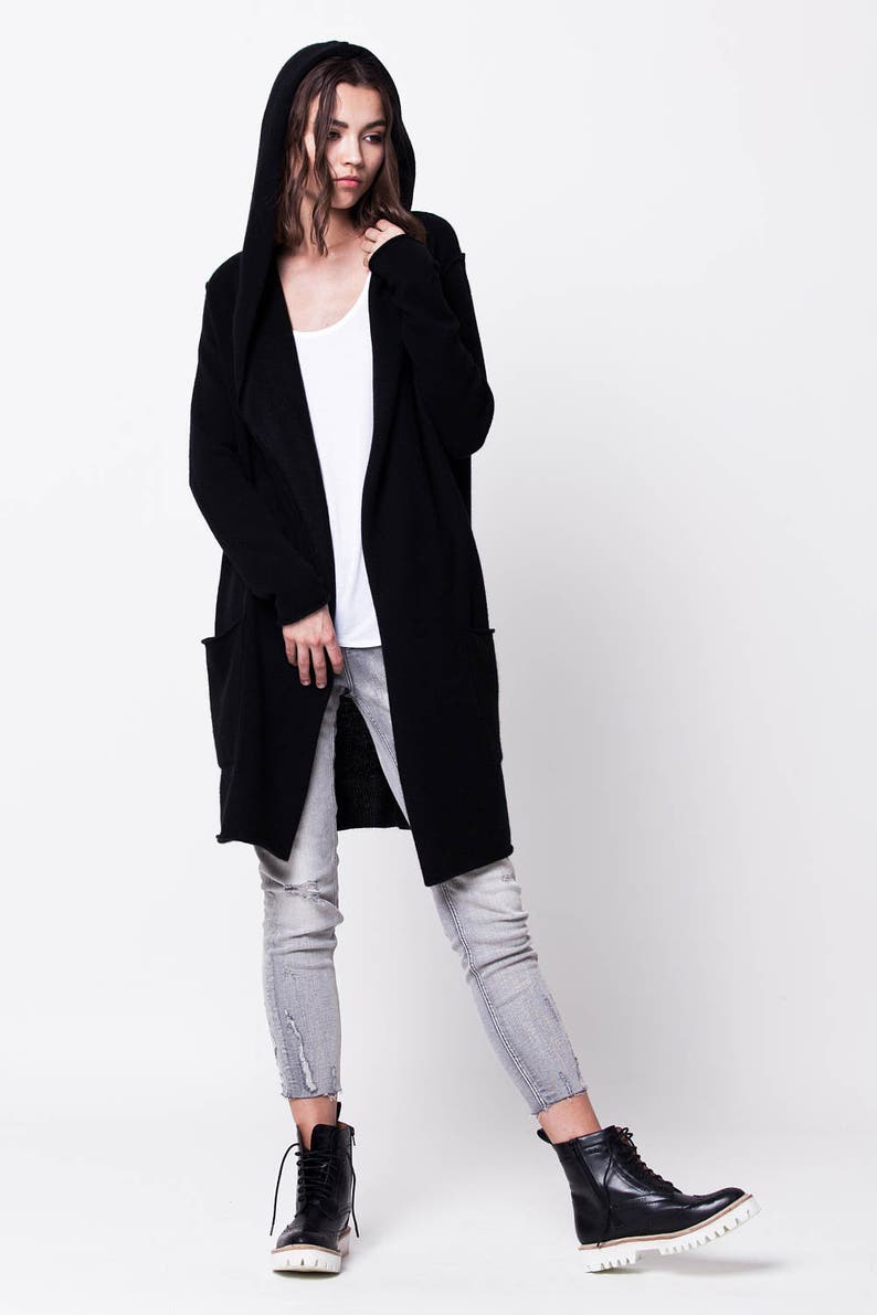 Black cashmere cardigan   Hooded cardigan   Open front  a5aaff32b