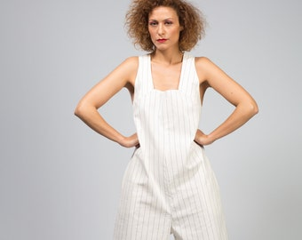 Minimal navy stiped white cotton jumpsuit. White summer striped  cotton romper.