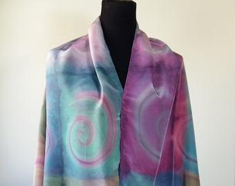 Handpainted silk scarf in multicolour made in Shibori tecnic