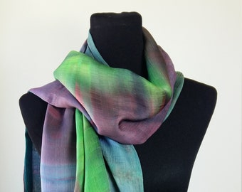 Handpainted reversible double-layer Silk scarf in multicolour
