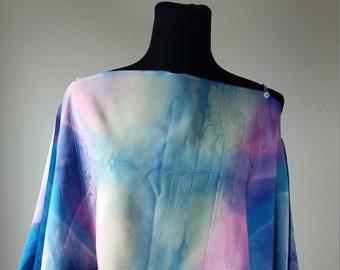 The adjustable-blouse made of natural unused japanese vintage silk Shibori handpainted