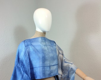MARTY-blouse made of natural unused japanese vintage silk Shibori - handpainted